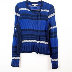 NWOT LOFT Chunky Knit Zip Front Striped Sweater M